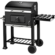 TecTake BBQ Barbacoa de carbón vegetal parrilla fumador madera 115x65x107cm | Termómetro integrado