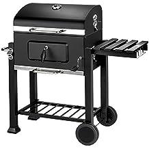 TecTake BBQ Barbacoa de carbón vegetal parrilla fumador madera 115x65x107cm | Termómetro integrado