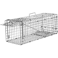 Elbe Trappola per Animali, Ferro Trappola per la Cattura di Animali vivi, Gabbia per Gatto, Volpe, Coniglio, marmotte, 80x29x32 cm, MAF03