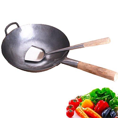 Ancoree Wok-Pfanne Pan, Pan-Chinesisch Wok Traditionelle Eisenhand gehämmert unbeschichteten Carbon Stahl Wok Kochgeschirr mit Helfer aus Holz, 30.5 cm Runde Unterseite Wok mit Wok Turner (Kleine Stir Fry Pan)