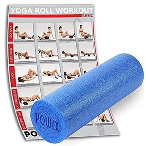 POWRX Yoga-Rolle EPS Material/Pilates-Rolle/Schaumstoff-Rolle/Foam-Roller 45 cm oder 90 cm x 15 cm zum Training der Faszien/Einzeln oder 5er Set