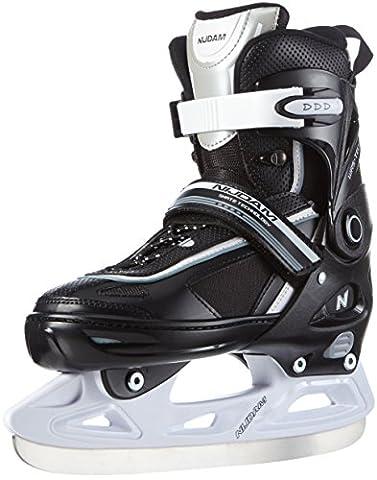 Schreuders Sport Kids Adjustable Polyester Ice Hockey Skate - Black/White/Silver, Size 33 - 36