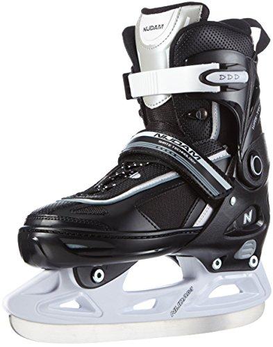 Nijdam Kinder Eiskunstlaufschlittschuhe verstellbar Icehockey Skates, Schwarz-Weiß-Silber, 37-40, 1014367