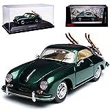 alles-meine GmbH Porsche 356A Coupe Grün mit Skier Edition 70 Jahre 1955-1959 1/43 Schuco Modell Auto