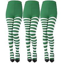 Sumind 3 Paires Collants de Saint Patrick à Rayures Pleine Longueur Bas de  Cuisse Haute pour 956b9a08d34