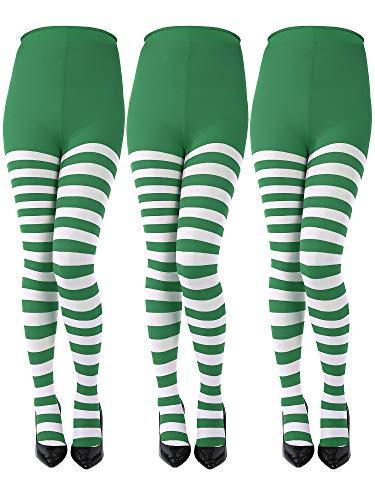 3 Paare St. Patrick's Day Gestreifte Strumpfhosen in voller Länge Oberschenkel Strumpf für Damen St. Patrick's Day (Grün, Weiß, Kindergröße)