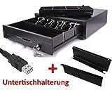 USB Kassenlade mit Untertischhalterung iQCash410USB 41x41x10cm, Kassenschublade Geldlade Geldkassette