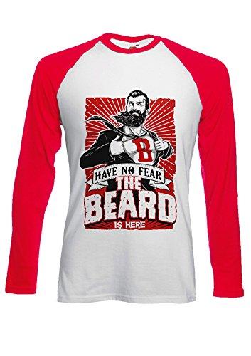 The Beard Is Here Have No Fear Superhero Novelty Black/White Men Women Damen Herren Langarm Unisex Baseball T Shirt Verschiedene Farben Rot