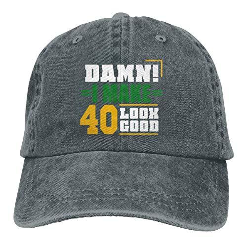 Presock Damn I Make 40 Look Good Cowboy Caps Unisex Adjustable Trucker Baseball Hats Deep Heather - Heather Rim