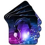 Kopfhörer auf DJ-Deck Turntables Set aus 4 Untersetzern