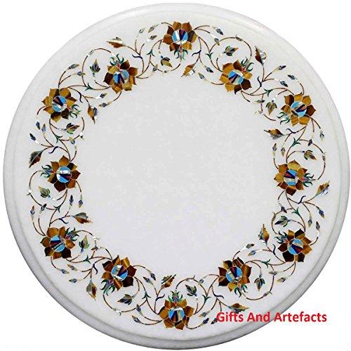 Gifts And Artefacts 38,1cm rund weiß Marmor Couchtisch Top Multi Farbe Stein Inlay Blumen Design