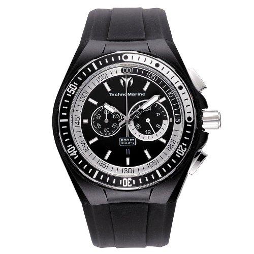 Technomarine 110018 - Reloj cronógrafo de cuarzo para hombre con correa de silicona, color negro
