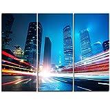 Design Art pt9878–3P Shanghai lujiazui Finanzierung bei Nacht–Stadtbild Kunstdruck auf Leinwand–91,4x 71,1cm–3Multipanel teilig, blau, 36x 328teilig
