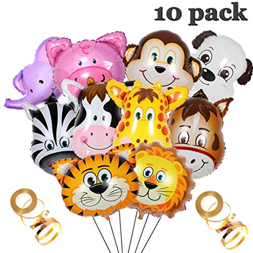 Crazy-m 10 Pcs Folienballon Tiere Helium Set, Aufblasbar Luftballons Dschungel Tier Ballon Folienballon für Geburtstag Party Dekoration Geschenk ,Riesigen Tierkopf Ballons für1-2-3 -5-6-7-8-9-10 - Tier Ballon Hund