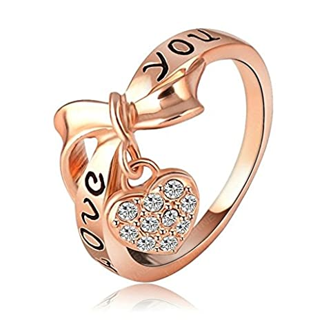 Aooaz Schmuck Damen Ring 18K Gold Vergoldet Emaille Herz Bogen Hochzeit Ringe Rose Gold Größe 60(19.1)