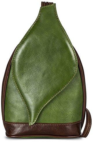 LiaTalia Niedliche kleine italienische Echtleder Cabrio Riemen Rucksack Schultertasche mit einer Schutztasche - Kim Green - Brown