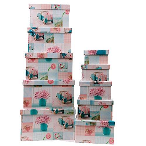 Aufbewahrungsboxen / Schachteln im 10er Set mit Deckel Design Hortensie