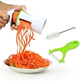 Innoo Tech Cortador Verduras Espiralizador Rallador Verduras en Espiral Multifuncional en Cocina Para Ensalada Vegetal Fruta Patata Pepino Zanahoria Diseñp Ergonómico Seguro Incluidos Pelador de Cerámica y Cepillo de Limpieza