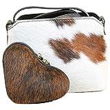 Kuhfell Fell Tasche Clutch Damentasche italienische Felltasche Geldbörse Set Shopper, Modell:Modell 2