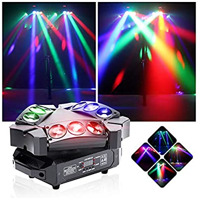 U'King Mini 9 Head Bird Disco Light 60W RGB Multi-Colored Effect LED Rotating Lights with DMX and Sound Active for Disco Club Bar Party Bands Show