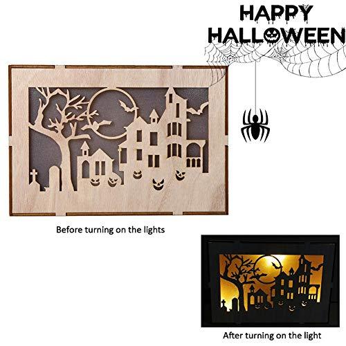 presentimer Hölzerner Halloween-Quadrat-Computer-Laser-Hohle LED beleuchtet Inneneinrichtung-Feiertags-Dekorations-Lichter-dreidimensionale Schmuck-Dekorationen Schöne kreative Lichter (Plug In Halloween Kostüm)