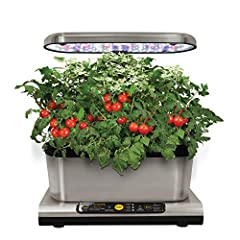 Idea Regalo - AeroGarden Miracle-Gro Harvest Elite con Gourmet Herb Seed Kit, Acciaio Inossidabile, 25 x 17 x 30 cm