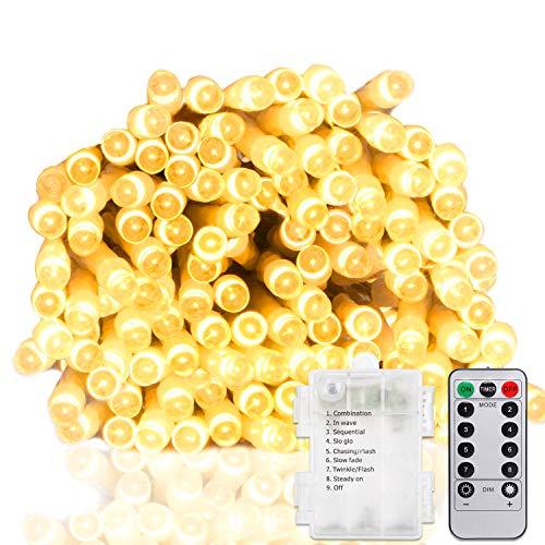(100er LED 10M Lichterkette mit Fernbedienung und Timer,8 Modi Dimmbar Outdoor Weihnachtslichterkette,Wasserdicht,Batteriebetrieben,Warmweiß,Außenbeleuchtung)