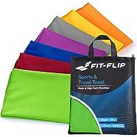 Fit-Flip Reisehandtuch Set – 15 Farben, 6 Größen – Ultra leicht, kompakt, schnelltrocknend – Mikrofaser Handtuch Set – das perfekte Sporthandtuch, Strandhandtuch und Travel Towel