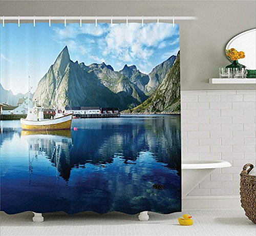 MSGDF Farm House Decor Shower Curtain, Sunset in Norwegian Lake by Fjords Formation Yacht Fishing Arctic Harbor Island, Fabric Bathroom Decor Set with Hooks, 60 X 72inch, Blue