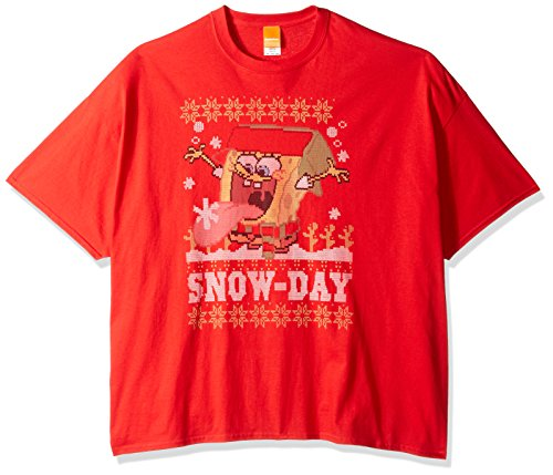 SpongeBob Nickelodeon Herren T-Shirt Big and Tall Snow Day Ugly Christmas - Rot - (Patrick Von Spongebob Kostüm)