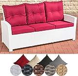 CLP Polyrattan Sofa FISOLO mit 3 Sitzplätzen I Gartensofa mit Aluminium-Gestell I Couch mit Polsterauflagen I In Verschiedenen Farben erhältlich Rattan Farbe weiß, Bezugfarbe: Rubinrot