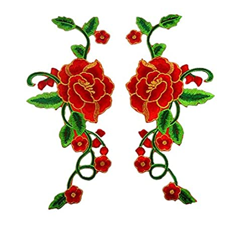 Ximkee 1 pair Blooming Peony Flower in Green Vines with Gold Trimming Embroidered Patches Sew Iron on