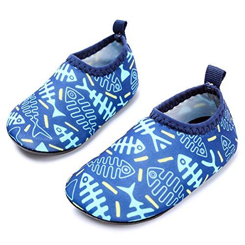 JIASUQI Babys Mädchen und Jungen Comfort Gehen Wasser Schuhe für den Draussen Fluss, Fischgräte Blau 6-12 Monate -