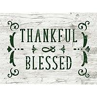 Schablone Thankful & Blessed - mit Ornamenten - im vintage Look - shabby chic Stencil - antik Look Deko für Möbel, Wände, Stoff, Schilder
