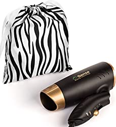 Compact Dual Voltage Folding Handle Travel Hair Dryer; 1200 Watts Lightweight for Worldwide Use Gym or Home 2 Speed/Heat Settings and Carry Bag