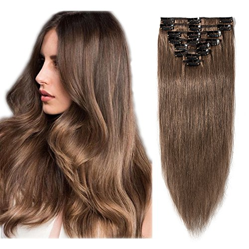 [40cm - 06#Marron Clair] Extension Cheveux a Clip [8 Bandes à 18 Clips] Cheveux Tombent/S'emmêlent Pas