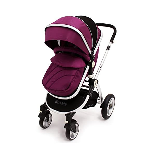 iSafe Trio Pram Stroller 2in1 - Plum (Purple) iSafe 2 in 1 Stroller / Pram Extremely Easy Conversion To A Full Size Carrycot For Unrivalled Comfort Complete With Boot Cover, Luxury Liner, 5 Point Harness, Raincover, Shopping Basket With Closed Ziped Top High Quality Rubber Inflatable Wheels With The Full All around Soft Suspension For That Perfect Unrivalled Ride 7
