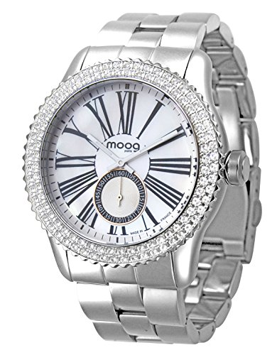 Moog Paris Petite Seconde Women / Men Watch with White Dial, Silver Stainless Steel Strap & Swarovski Elements - M45232-001