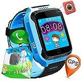 3,7 cm GPS Tracker Smart Watch Phone per bambini con pedometro telecamera SIM chiamate SOS anti-perso intelligente bracciale Smartwatch per bambini, ragazzi regali di compleanno vacanza prime (Blue)