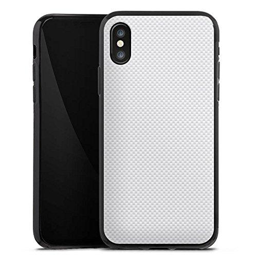 Apple iPhone X Tasche Hülle Flip Case Carbon Look Weiß Muster sie Silikon Case schwarz