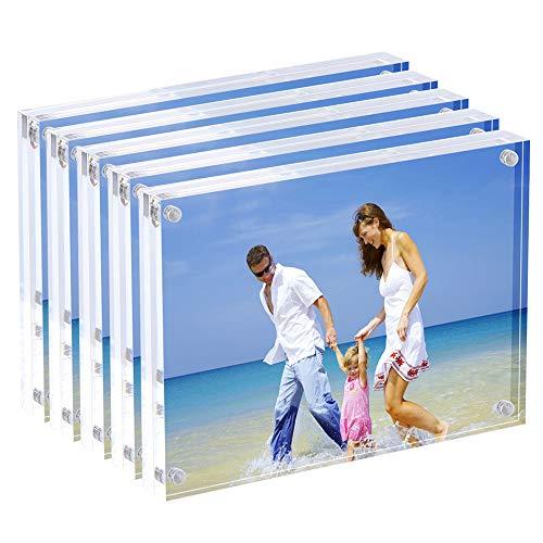 13x18 cm Acryl-Fotorahmen, Magnetische Bilderrahmen, 10 + 10 MM Dicke Ständer in Schreibtisch oder Tisch, klar (5 Stück) (Klare Magnetische Bilderrahmen)