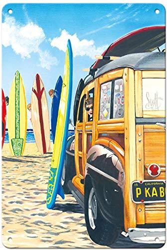 Schild aus Aluminium von Oremovqweenry, 20,3 x 30,5 cm, Vintage Blechschild - Beach Cruiser Kids - Retro Woodie on Beach with Surfboards von Scott Westmoreland Retro Schild - Cruiser Beach Aluminium
