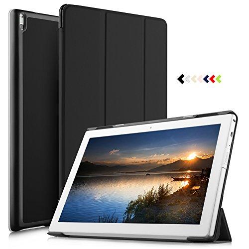 IVSO Lenovo Tab4 10 PLUS Hülle, Ultra Schlank Ständer Slim Leder zubehör Schutzhülle perfekt geeignet für Lenovo Tab4 10 PLUS / Lenovo Tab 4 10 PLUS Tablet PC, Schwarz (Pvc-computer-tasche 100%)