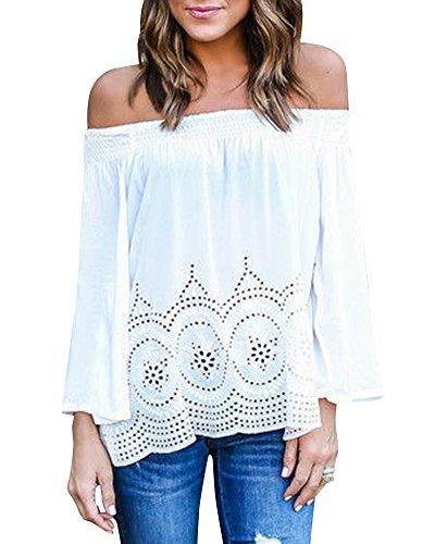 Femme Elégante Tunique Chemisier En Mousseline Casual Hauts Bretelle Épaule Nue Manches Longues Chemise Shirt Chic Tops Blouse Blanc