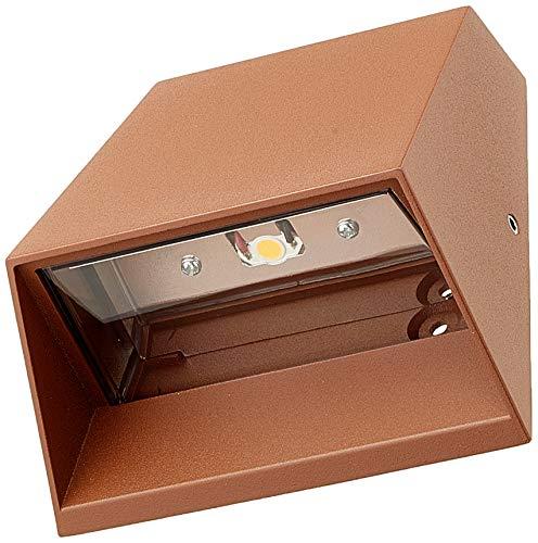 Lámpara de pared, aplique LED blanco frío, 6 W, color óxido, uso exterior, foco de pared