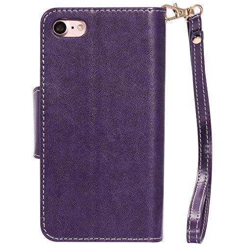 iPhone Case Cover IPhone 7 Case, fleurs pressées en relief modèle de fille et de chat PU Housse en cuir avec une dragonne et 9 Card Slot Cadre photo pour iPhone 7 4,7 pouces ( Color : Blue , Size : IP Purple