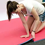 eyepower 4 Bodenmatten je 63x63cm extra dick 2cm   Gesamtfläche 1,59qm   inkl. 8 Abschlussleisten   beliebig erweiterbare Steckmatten   Fitness Yoga Judo Trainingsmatte Schutzmatten Unterlegmatten Bodenauflagen   Rot / Blau -