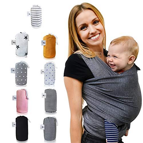 Fastique Kids® Tragetuch - elastisches Babytragetuch für Früh- und Neugeborene inkl. Baby Wrap Carrier Anleitung - Farbe grau - Ein Ein Man Youtube-wie