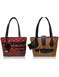 AZED Collections | Combo Of Two Shoulder Handbags | Red & Brown Colour | For Women