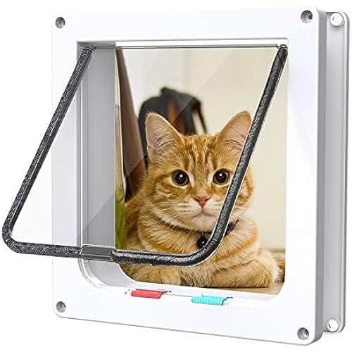 regalos kawaii gato Fypo Puerta de Gato Puerta de Aleta Gatera Cuadrada Automática Acceso Seguridad para Gatos Ventana de Observación de Mascota de 4 modos 23,5 * 25cm L (Blanco)